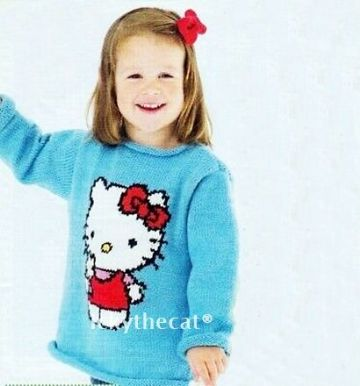 PDF Digital Vintage Knitting Pattern Girls Hello Kitty Motif Sweater Jumper 2-5 years  Double Knit
